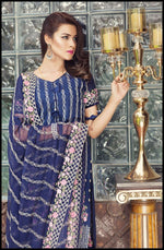 Zainab Hasan Swiss Lawn Vol-3 2019 suit ZH-02 - Embroidered Swiss lawn navy kameez, dyed trouser and embroidered chiffon dupatta