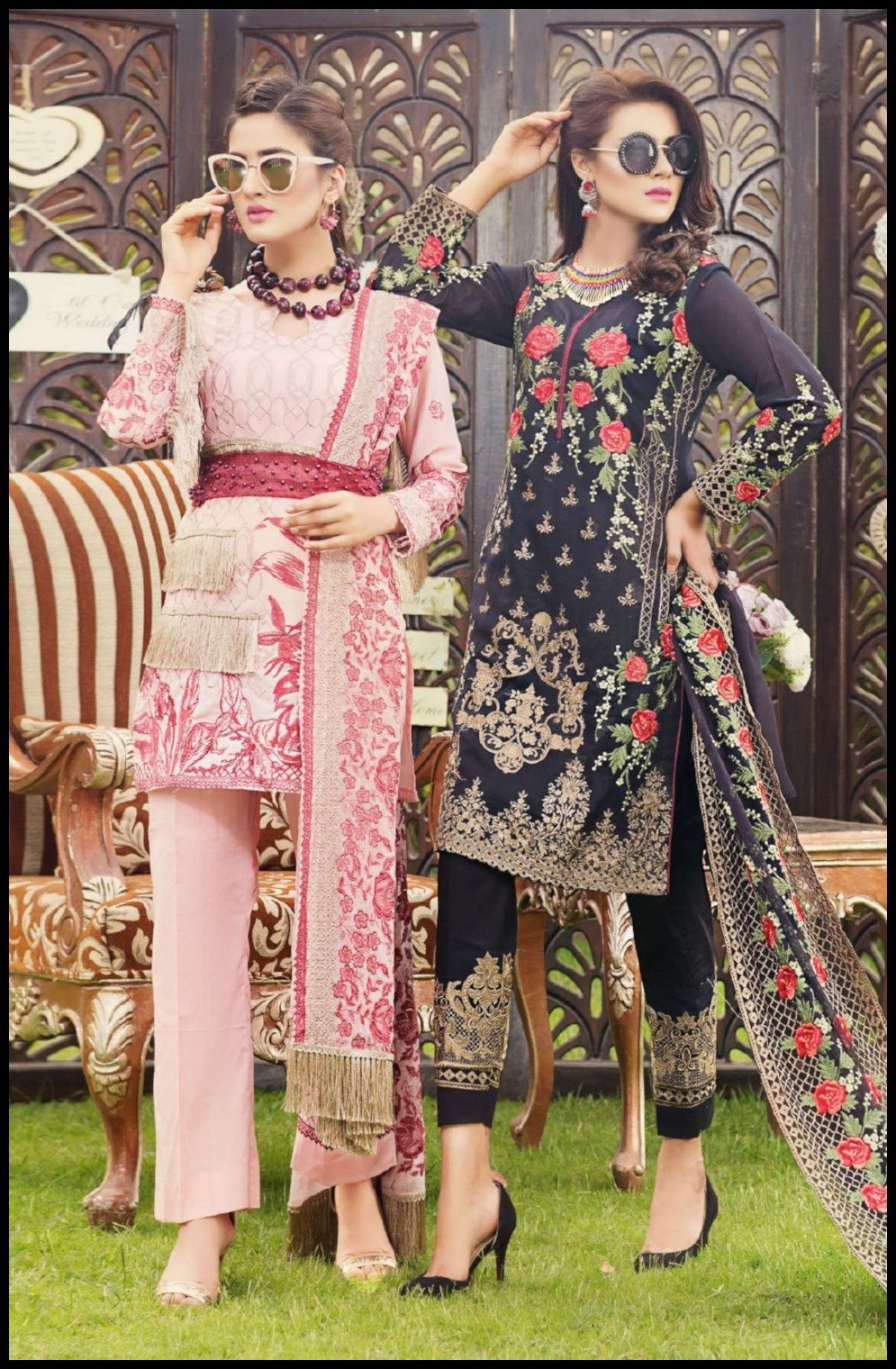 Zainab Hasan Swiss Lawn Vol3 suit ZH-03 - embroidered pink swiss kameez, dyed bottom and embroidered chiffon dupatta