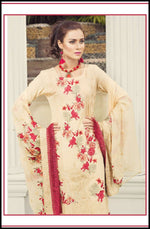Zainab Hasan Swiss Lawn Vol3 suit ZH-09 - Embroidered Swiss Beige kameez, dyed bottom and embroidered chiffon dupatta