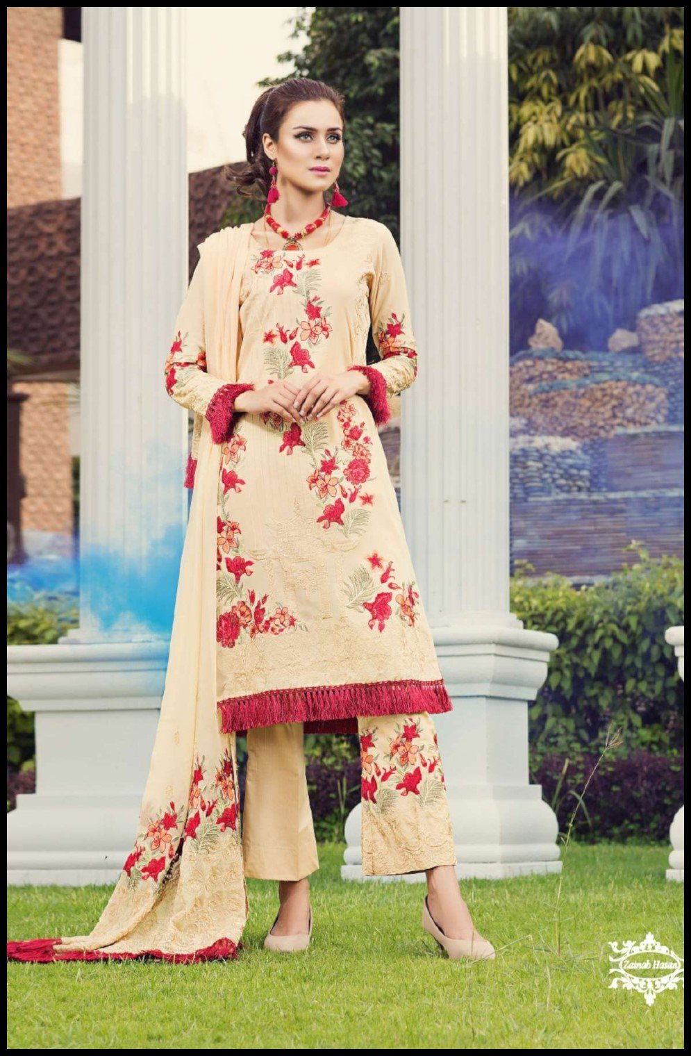Zainab Hasan Swiss Lawn Vol3 2019 suit ZH-09
