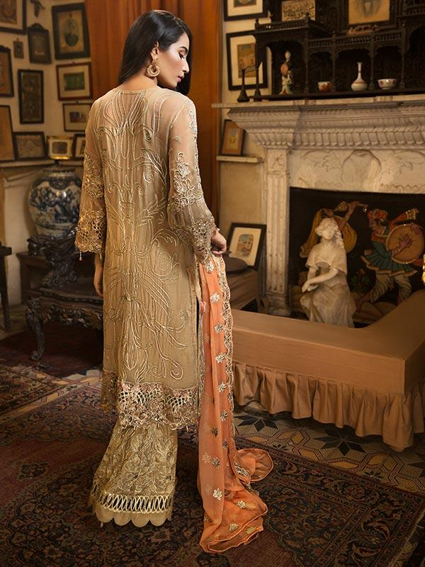 Zebtan Royal Chiffon Vol-3 suit D-01 - Embroidered Gold Back, orange dupatta and embroidered bottom