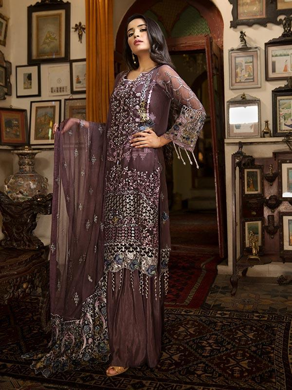 Zebtan Royal Chiffon Vol-3 suit D-02 - Embroidered hand worked kameez with embroidered bottom and chiffon dupatta
