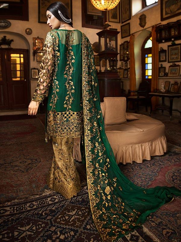 Zebtan Royal Chiffon Vol-3 suit D-04 - Embroidered, hand worked Kameez with embroidered chiffon dupatta and gold bottom