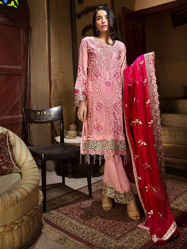 Zebtan Royal Chiffon Vol-3 suit D-05 - Embroidered pink shirt's front, back, dupatta and matching bottom