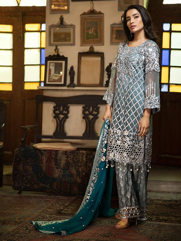 Zebtan Royal Chiffon Vol-3 suit D-06 - Embroidered Grey Kameez, embroidered dupatta and bottom