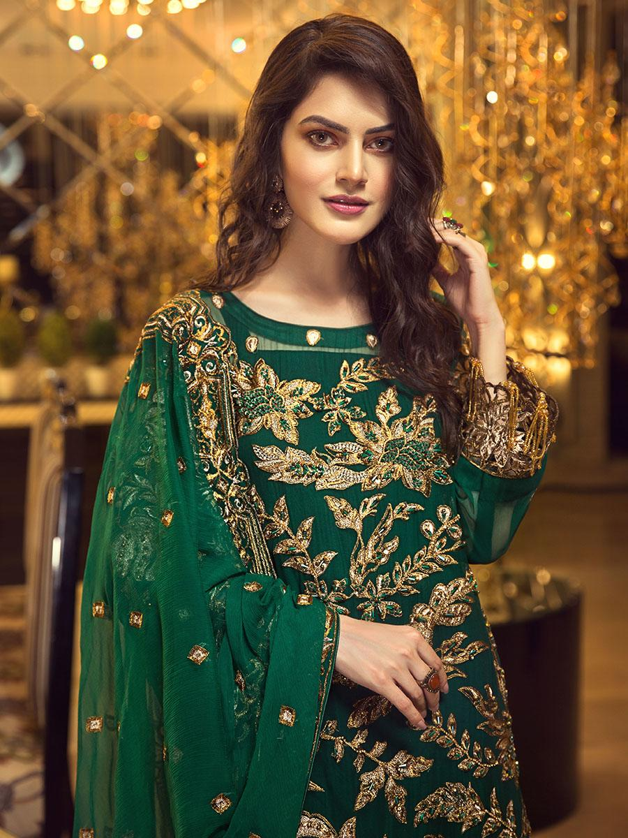 Zebtan Royal Chiffon Vol-5 2019 suit D-02 - Embroidered green shirt with hand worked sleeves and chiffon dupatta