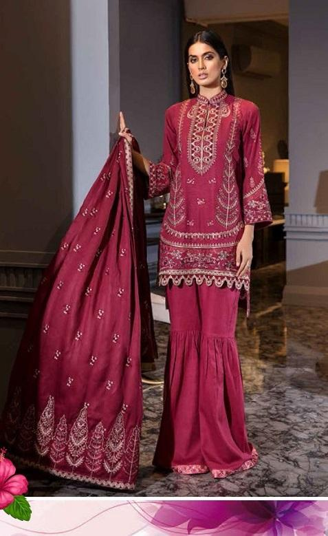 Eshaisha Winter Vol-2 2019 suit EA-511 - Embroidered khaddar shirt, sleeves and dupatta