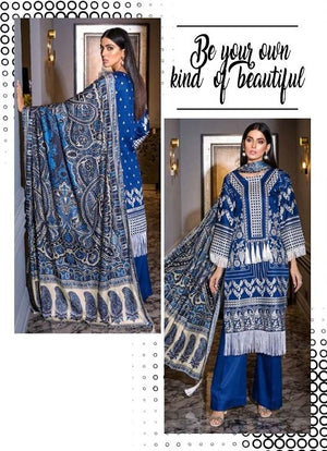 Eshaisha Winter Vol-2 2019 suit EA-516 - Embroidered cotail blue salwar kameez with printed shawl
