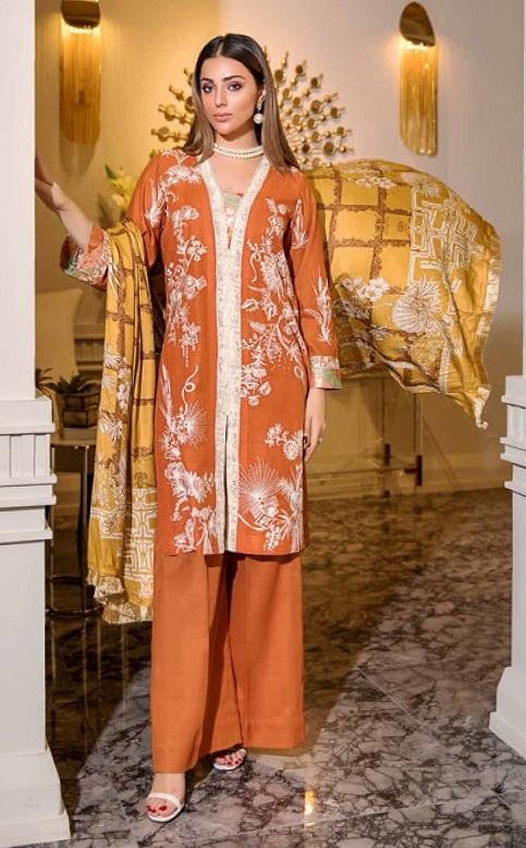 Eshaisha Embroidered Vol-2 2019 suit EA-522 - Orange dhanak wool shirt with wool shawl