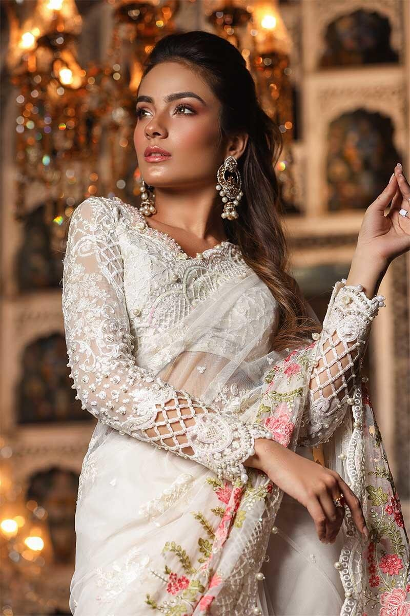 Maria B Unstitched MBROIDERED - Pearl White (BD-1703)