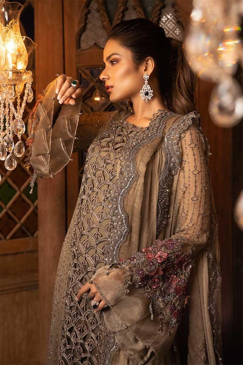 Maria B MBROIDERED Eid Collection 2019 - Cappuccino Grey & Lilac (BD-1704)