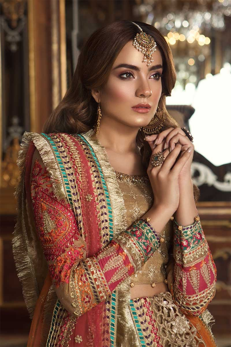 Maria B MBROIDERED Eid Collection 2019 - Gold & Coral (BD-1505)