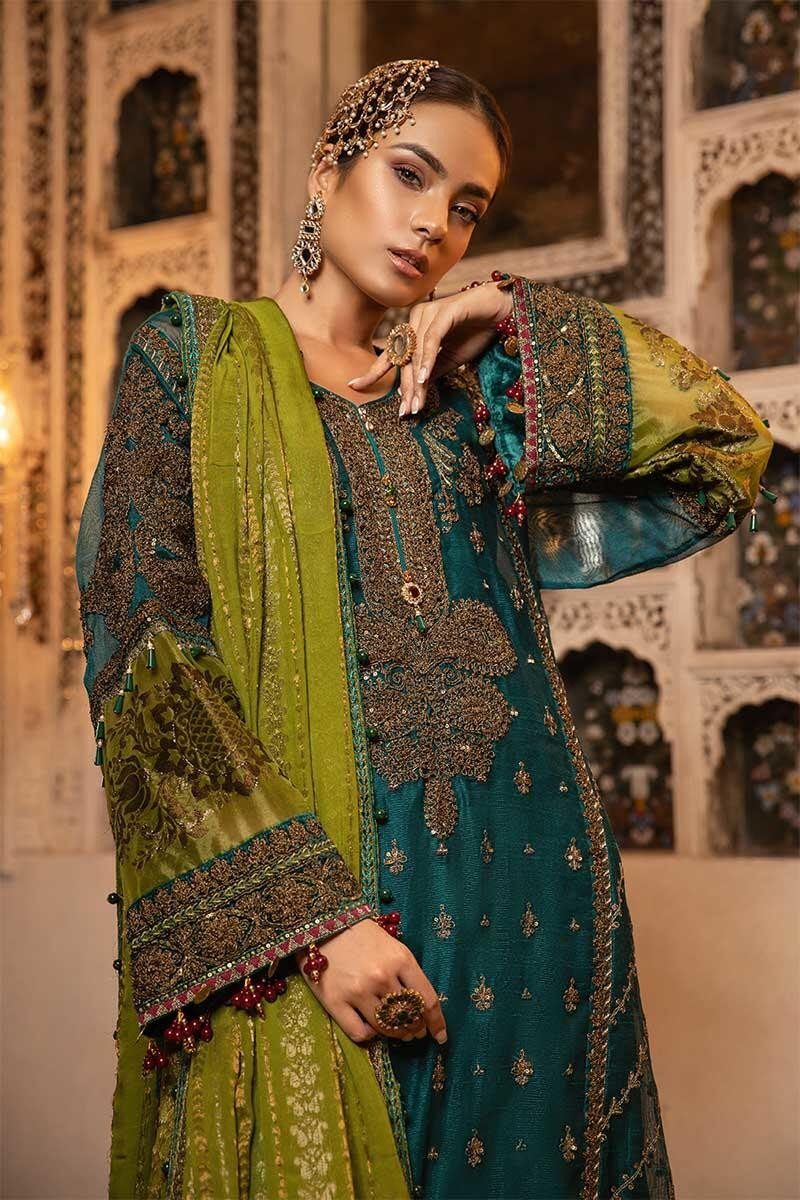 Maria B MBROIDERED Eid Collection 2019 - Teal, Green & Deep Ruby (BD-1706)