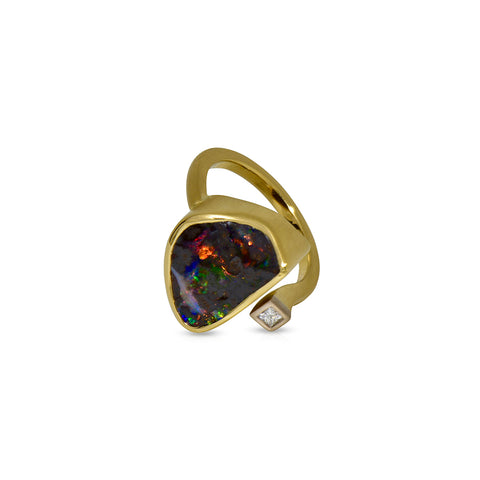 Earth by Sea collection, Australian Boulder Opal and Diamond ring