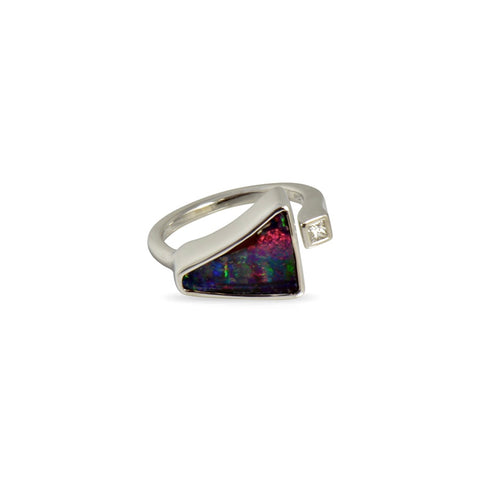 Earth by Sea collection, Fairtrade gold with Australian Boulder Opal and Diamond ring
