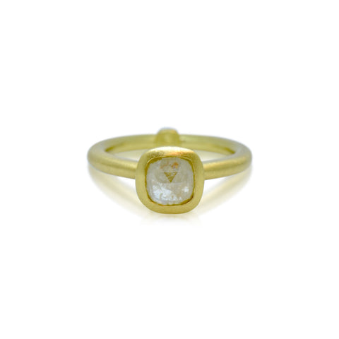 Rustic Collection 18k Fairtrade gold & Opaque Rose cut Diamond engagement ring