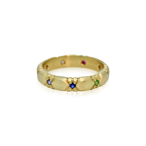 Rustic Collection 18k Gemstone Hand-carved Wedding Band
