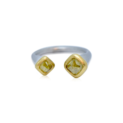Rustic Collection 18k Opaque Yellow Rose Cut Diamond Ring