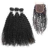 Tissage - Full Set 3 Paquets Brésiliens REMY Kinky Curly 100% Cheveux Naturels + 1 Closure Free Style