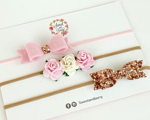 Spring pink set of 3 bow s/s 2018 - bow - Baby headband - Sweet and Berry
