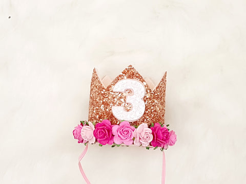 Any age Rose gold birthday crown - pinks detail - birthday crown - Baby headband - Sweet and Berry