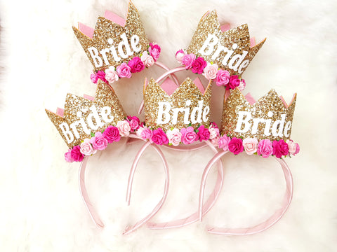 Bride Crown - Gold Pink -  - Baby headband - Sweet and Berry