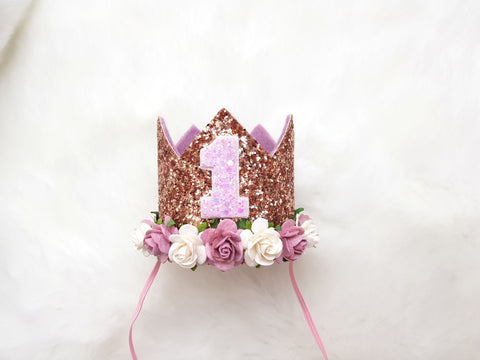 Any age Rose gold birthday crown - lilac dusky pink detail - birthday crown - Baby headband - Sweet and Berry