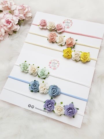 Trio Roses -  - Baby headband - Sweet and Berry