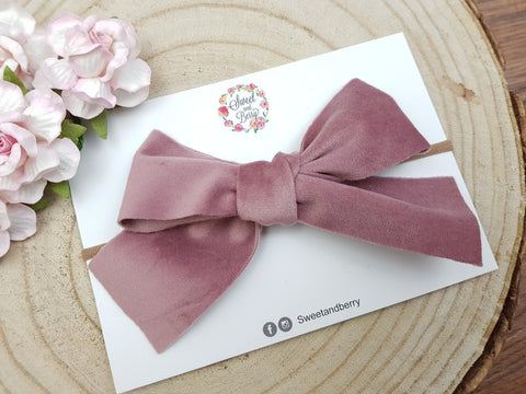 Tied Bow - velvet pink -  - Baby headband - Sweet and Berry