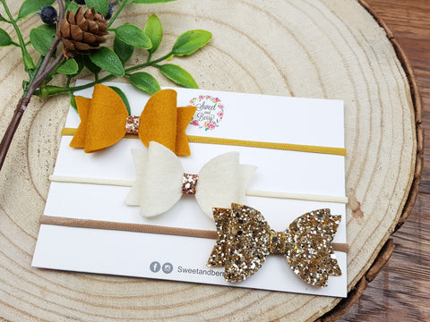 Autumn set bow -  - Baby headband - Sweet and Berry