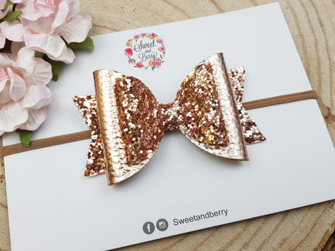 rose gold bow -  - Baby headband - Sweet and Berry