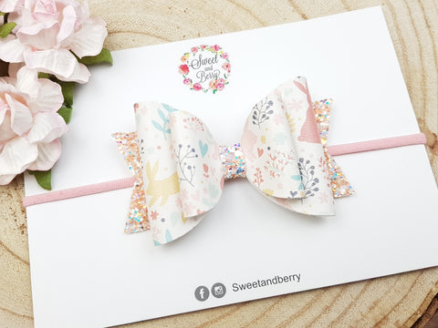 Enchanted bunny bow -  - Baby headband - Sweet and Berry