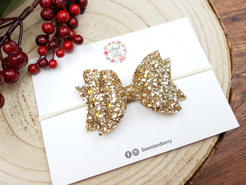Gold bow -  - Baby headband - Sweet and Berry