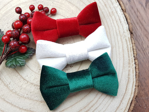 Set of 3 premium velvet bows -  - Baby headband - Sweet and Berry