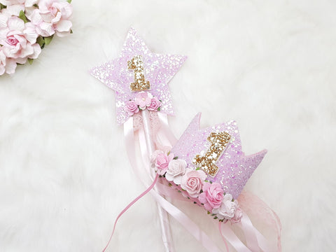Birthday crown / birthday wand - pink - birthday crown - Baby headband - Sweet and Berry