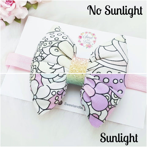Colour changing pillow bow -  - Baby headband - Sweet and Berry