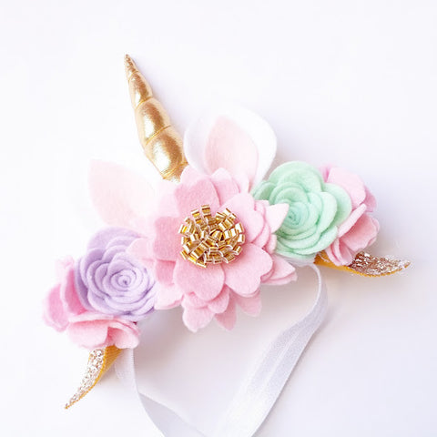 Pastel - Luxe Unicorn horn flower crown headband Unicorn Horn Headband - unicorn horn - Baby headband - Sweet and Berry