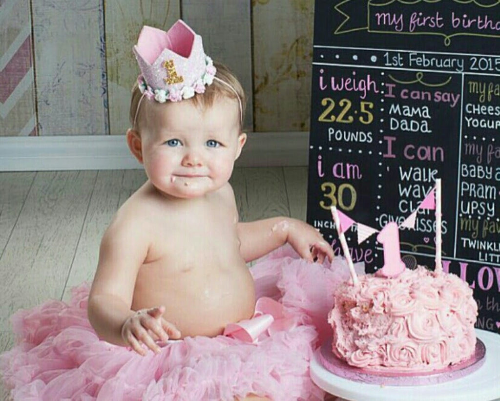 Pretty in Pink - Choice of 1st 2nd 3rd 4th birthday girl crown headband -  Pink ... 97f2299e786