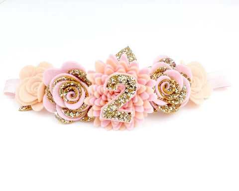Birthday party flower crown - Baby pink -peach with detachable number - Flower headband - Baby headband - Sweet and Berry