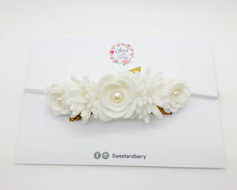 Christening flower headband - White - Flower headband - Baby headband - Sweet and Berry