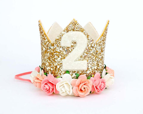 Birthday crown - Peach- coral - birthday crown - Baby headband - Sweet and Berry