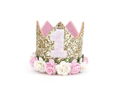 Any number - Pink and gol - 1st Birthday Party flower crown -Cake Smash Photo Shoot - birthday crown - Baby headband - Sweet and Berry
