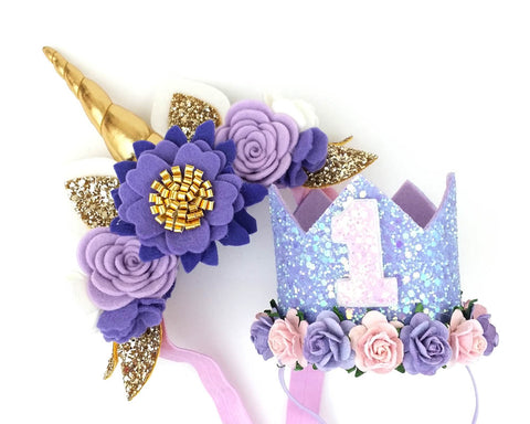 Lavender lilac - Unicorn horn flower crown headband Unicorn Horn Headband Or birthday crown - unicorn horn - Baby headband - Sweet and Berry