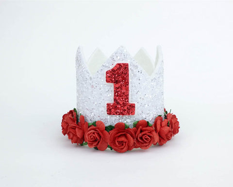 White- Red Birthday Crown - christmas - Baby headband - Sweet and Berry