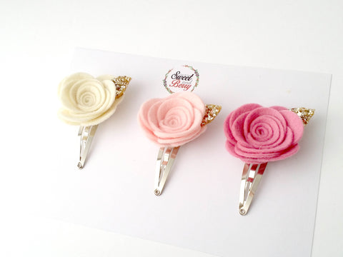 Design your own rose Snap clip set - Snap Clips - Baby headband - Sweet and Berry