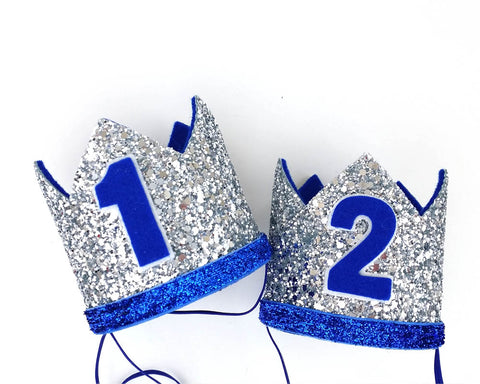 1st birthday crown boy - royal blue - silver crown - birthday crown - Baby headband - Sweet and Berry
