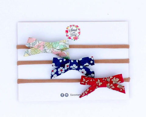 Katie Lawn liberty set of bows -  - Baby headband - Sweet and Berry