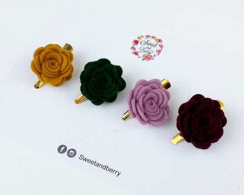 Design your own tiny - mini Rose clip - Hair clip - Baby headband - Sweet and Berry