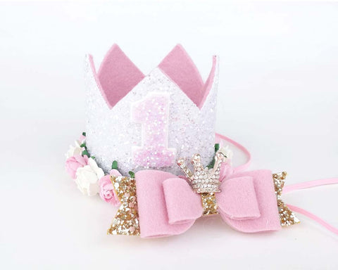 Birthday crown - White - pink - birthday crown - Baby headband - Sweet and Berry