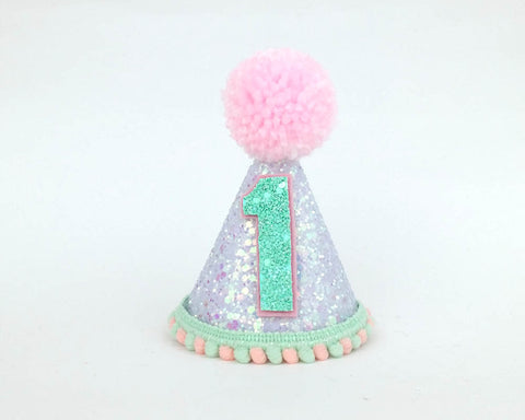 White - pink mint  Birthday Hat -Birthday Hat - Default Type - Baby headband - Sweet and Berry